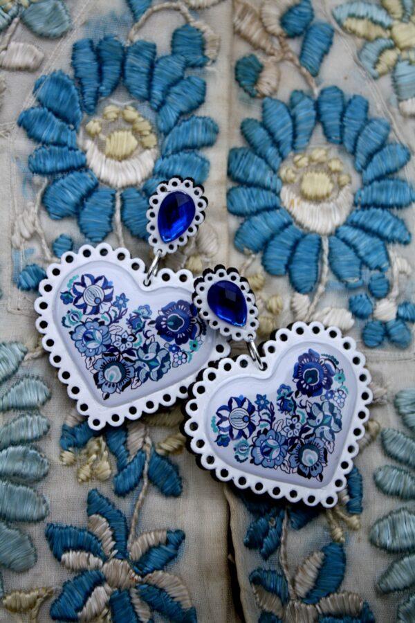 Modro biele folk nausnice Retro Bijou